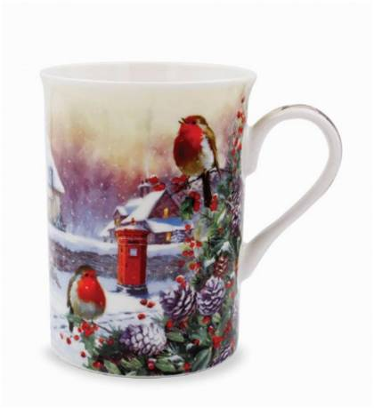Christmas Robins Fine China Mug