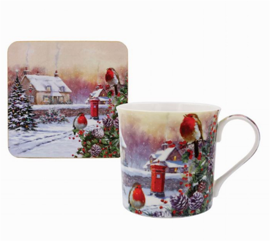 Christmas Robins Fine China Mug and Coaster Set