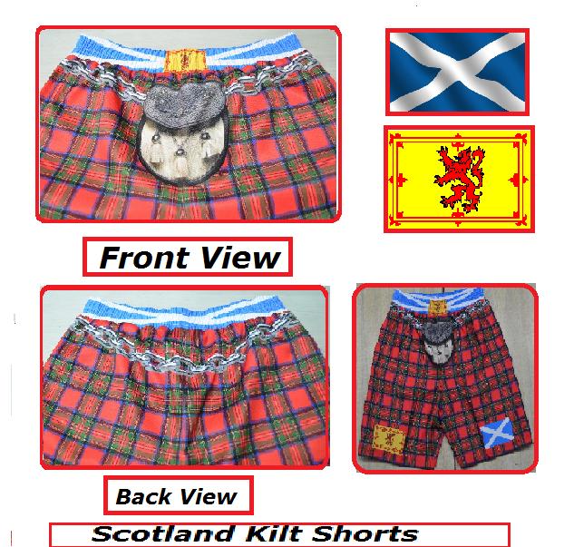 N.I.//NI//Northern Ireland//Novelty//Kilt//Tartan//Shorts//New