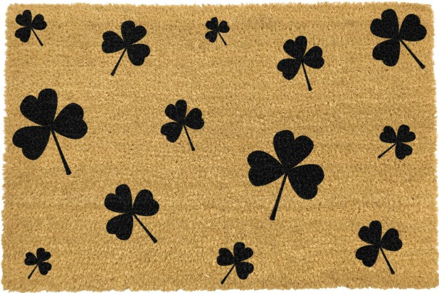 Irish Shamrocks Doormat - Black