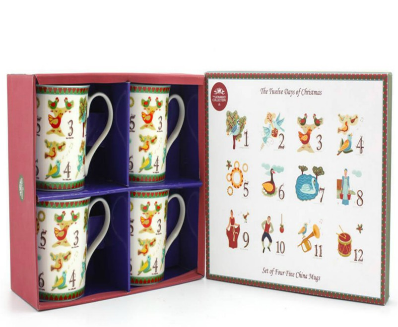 The Twelve Days of Christmas Mugs - Set of 4
