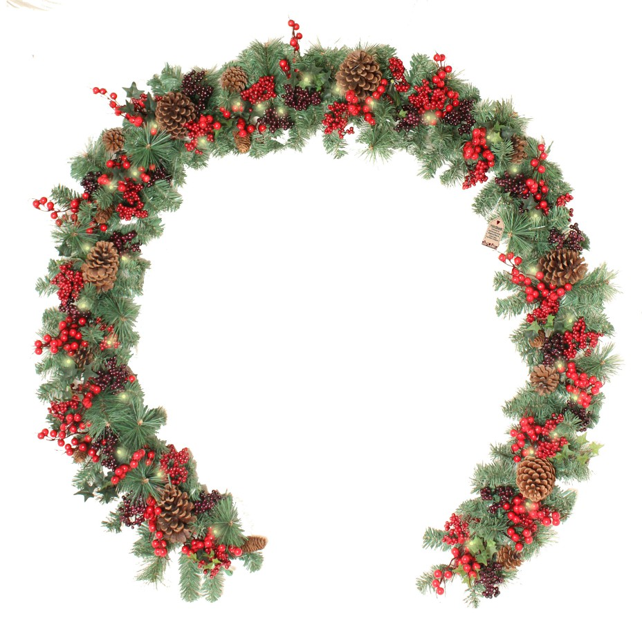 Woodland Berry 9ft Garland with Lights