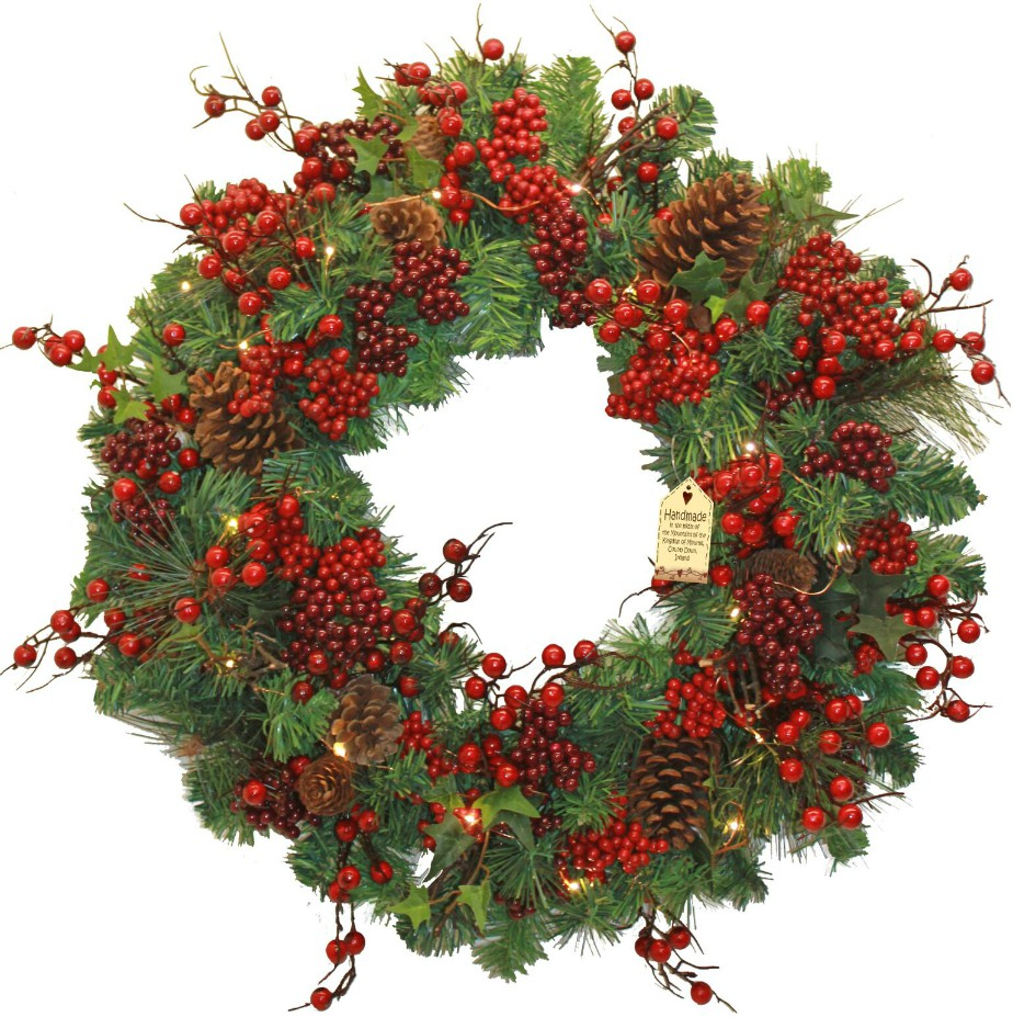Woodland Berry Large Wreath with Lights