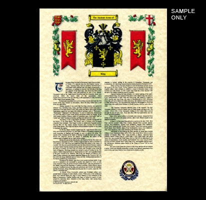 Single Coat of Arms & Surname A3 History Parchment Scroll